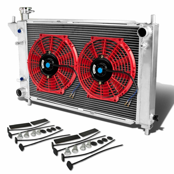 "94-95 Ford Mustang 4th Gen AT Aluminum Racing 3-Row Radiator+12"" Fans (Red)+Mounting Kit"