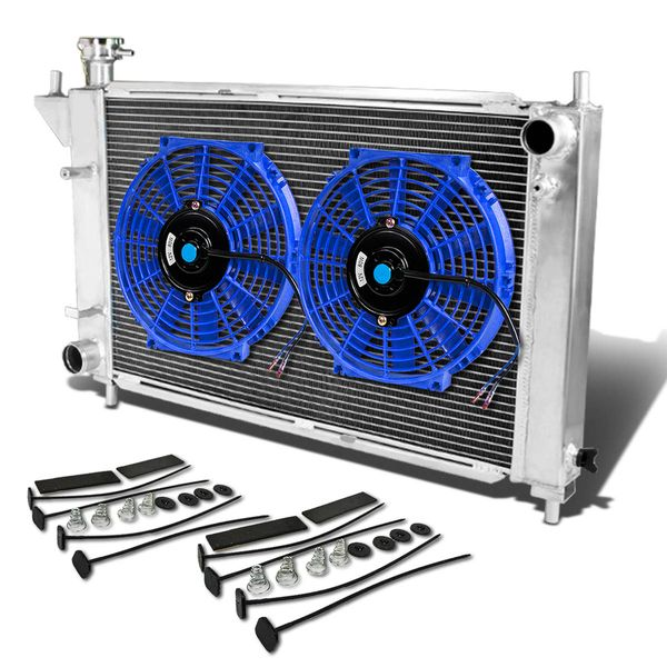 """94-95 Ford Mustang 4th Gen MT Aluminum Racing 3-Row Radiator+12"""" Fans (Blue)+Mounting Kit"""