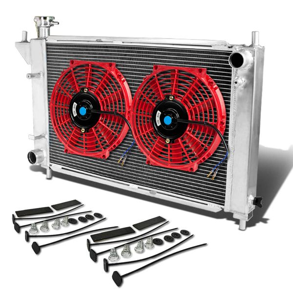 """94-95 Ford Mustang 4th Gen MT Aluminum Racing 3-Row Radiator+12"""" Fans (Red)+Mounting Kit"""