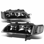 94-97 Honda Accord Black Housing Clear Corner Headlights