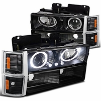 94-98 Chevy C10 CK Tahoe Halo LED Projector Headlights+Corner+Bumper - Black