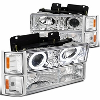 94-98 Chevy C10 CK Tahoe Halo LED Projector Headlights+Corner+Bumper - Chrome