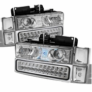 94-98 Chevy C10 / CK / Tahoe / Suburban / Silverado LED Projector Headlights + Corner + LED Bumper Lights - Chrome