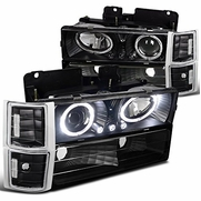 94-98 Chevy C10 / Silverado / Suburban / Tahoe / CK Full Size Halo Projector Headlights - Black