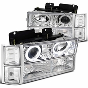 94-98 Chevy C10 / Silverado / Suburban / Tahoe / CK Full Size Halo Projector Headlights - Chrome
