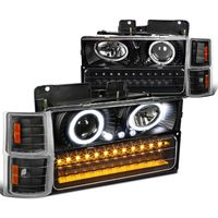 94-98 Chevy Full Size Pickup C10 C/K Halo Projector Headlights + LED Bumper Lights - Black