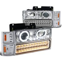 94-98 Chevy Full Size Pickup C10 C/K Halo Projector Headlights + LED Bumper Lights - Chrome