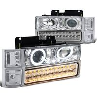 94-98 Chevy Full Size Pickup C10 C/K Halo Projector Headlights + LED Bumper Lights - Chrome Clear