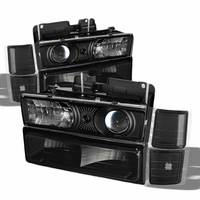 94-98 Chevy C10 Full Size Pickup Projector Headlights Set - Black