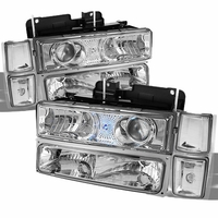 94-98 Chevy C10 Full Size Pickup Projector Headlights Set - Chrome Clear