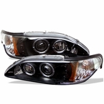 94-98 Ford Mustang Angel Eye Halo & LED Projector Headlights - Black