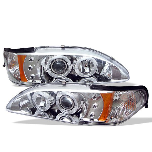 94-98 Ford Mustang Angel Eye Halo & LED Projector Headlights - Chrome