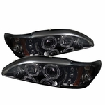 94-98 Ford Mustang Angel Eye Halo & LED Projector Headlights - Smoked