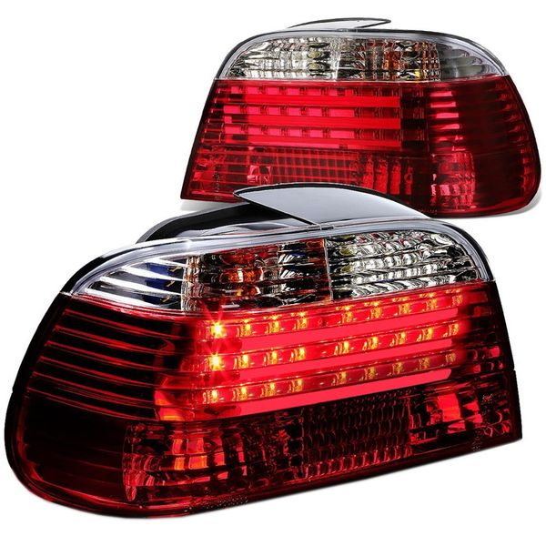 95-01 BMW E38 7-Series Pair of Clear Lens Red LED Rear Brake+Signal Tail Light