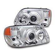 95-01 Ford Explorer CCFL Angel Eye Halo & LED DRL Projector Headlights - Chrome