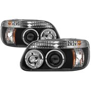 95-01 Ford Explorer Dual Angel Eye Halo Projector Headlights - Black