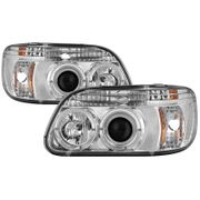 95-01 Ford Explorer Dual Angel Eye Halo Projector Headlights - Chrome