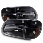 95-01 Ford Explorer Euro Crystal Headlights Combo - Black