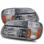 95-01 Ford Explorer Euro Crystal Headlights Combo - Chrome