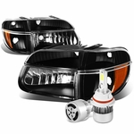 95-01 Ford Explorer/Mountaineer Replacement Headlights Black Housing & Amber Corner+6000K White LED w/ Fan