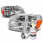 95-01 Ford Explorer/Mountaineer Replacement Headlights Chrome Housing & Amber Corner+6000K White LED w/ Fan