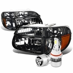 95-01 Ford Explorer/Mountaineer Replacement Headlights Smoke Housing & Amber Corner+6000K White LED w/ Fan
