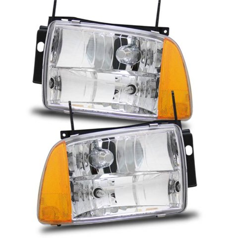 95 97 Chevy Blazer Crystal Replacement Headlights Chrome Click To Enlarge