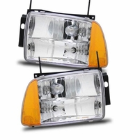 95-97 Chevy Blazer Crystal Replacement Headlights - Chrome