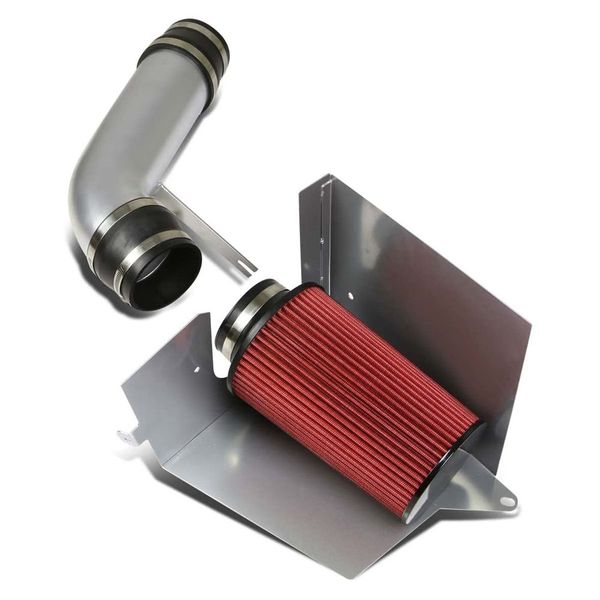 96-00 Chevy/GMC C/K-Series GMT400 5.0/5.7 Polished Cold Air Intake Pipe+Heat Shield+Red Filter