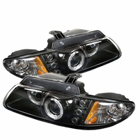 96-00 Dodge Caravan / Voyager Halo & LED Euro Projector Headlights - Black
