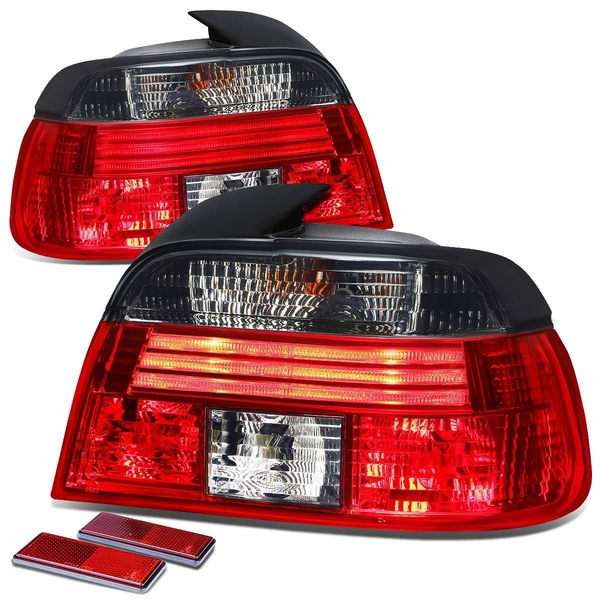 97-00 BMW E39 5-Series 4Dr Pair of Smoked Housing Red Rear Brake+Signal Tail Light