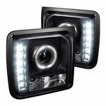 97-01 Jeep Cherokee Angel Eye Halo / LED Projector Headlights - Black