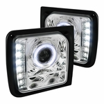 97-01 Jeep Cherokee Angel Eye Halo / LED Projector Headlights - Chrome