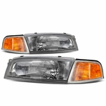 97-01 Mitsubishi Mirage 4Dr Sedan Factory Style Replacement Headlights - Chrome / Amber