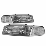 97-01 Mitsubishi Mirage 4Dr Sedan Factory Style Replacement Headlights - Chrome / Clear