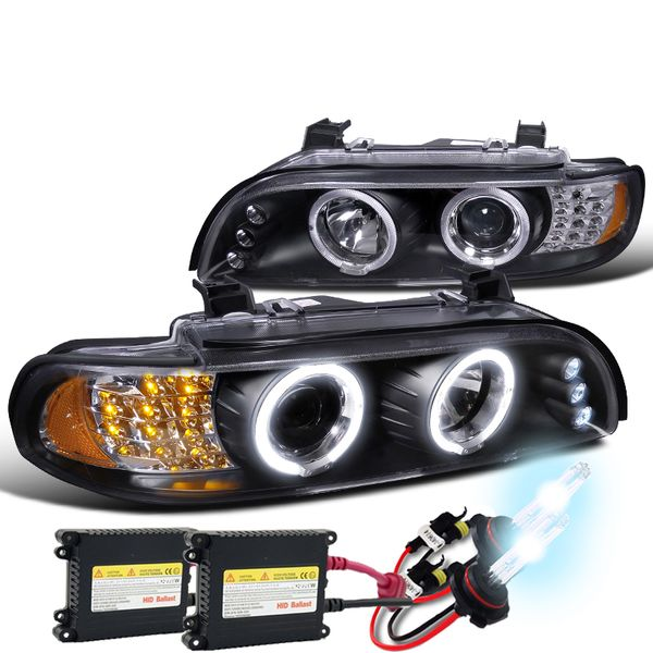 01-03 BMW E39 525/530/540 HALO LED PROJECTOR HEADLIGHTS + HID KIT - BLACK