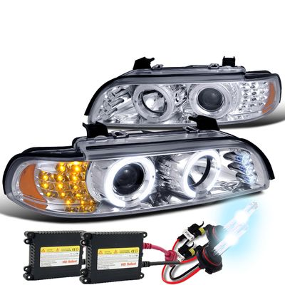 01-02 BMW E39 525/530/540 HALO LED PROJECTOR HEADLIGHTS + HID KIT - CHROME