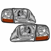 97-03 Ford F-150 / Expedition 4pcs OE-Style Headlights - Chrome|Pair
