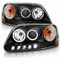 97-03 Ford F150 / 97-02 Expedition LED DRL Halo Projector Headlights - Black