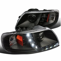97-03 Ford F150 / 97-02 Expedition LED DRL Projector Headlights - Black