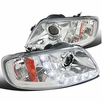 97-03 Ford F150 / 97-02 Expedition LED DRL Projector Headlights - Chrome