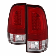 97-03 Ford F150 / 99-07 F250-F550 Super Duty LED Tube Tail Lights - Red Clear
