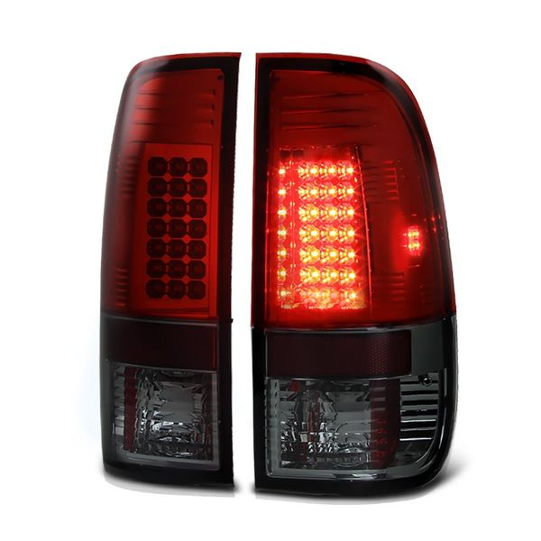 97-03 Ford F150 / 99-07 Superduty LED Tail Lights - Red / Smoked ALT-YD-FF15097-LED-RS