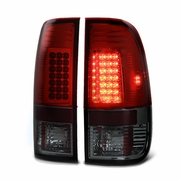 97-03 Ford F150 / 99-07 Superduty LED Tail Lights - Red / Smoked ALT-YD-FF15097-LED-RS By Spyder