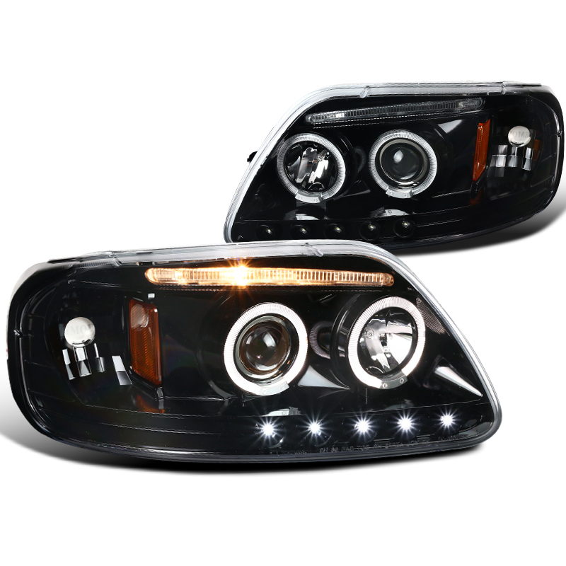 97-03 F-150 Clear Dual Halo Projector Headlights+Clear Rear Tail Brake Lamps