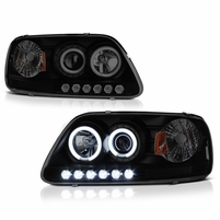 97-03 Ford F150 Dual Angel Eye Halo & LED Projector Headlights - Black Smoked