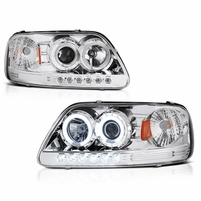 97-03 Ford F150 Dual Angel Eye Halo & LED Projector Headlights - Chrome