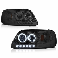 97-03 Ford F150 Dual Angel Eye Halo & LED Projector Headlights - Smoked