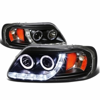 97-03 Ford F150 / Expedition Angel Eye LED Strip Projector Headlights Black