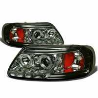 97-03 Ford F150 / Expedition Angel Eye LED Strip Projector Headlights Smoked